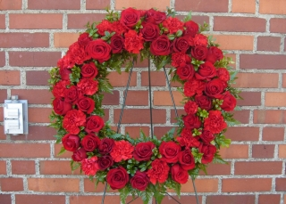 Red Wreath Standing Spray